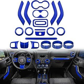 Opall 21PCS Interior Decoration Trim Kit Steering Wheel & Center Console Air Outlet Trim, Door Handle Cover Inner For Jeep Wrangler JK JKU 2011-2018 2 Door &4 Door (BLUE)