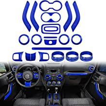 Opall 21PCS Interior Decoration Trim Kit Steering Wheel & Center Console Air Outlet Trim, Door Handle Cover Inner For Jeep Wrangler JK JKU 2011-2018 2 Door &4 Door (BLUE)