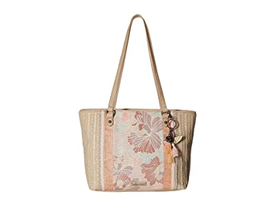 Sakroots Artist Circle Medium Satchel (Petal Pink Flower Blossom) Satchel Handbags