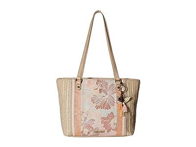 Sakroots Artist Circle Medium Satchel (Petal Pink Flower Blossom) Satchel Handbags