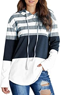 Women Casual Hoodies Sweatshirt Lightweight Striped & Color Block Drawstring Long Sleeve Relaxed Fit Pullover Shirt Top