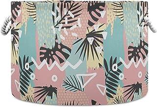 Okrągły kosz do przechowywania ręcznie rysowane pędzle do malowania tropikalne tło składany wodoodporny kosz na pranie dzi...