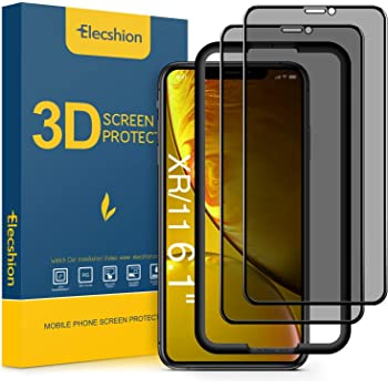 (Full-Coverage) Privacy Screen Protector for iPhone 11 and iPhone XR(2 Pack), Elecshion Anti-spy Tempered Glass Screen Protector for iPhone 11/XR(6.1 ''), Bubble Free, (Case Friendly)