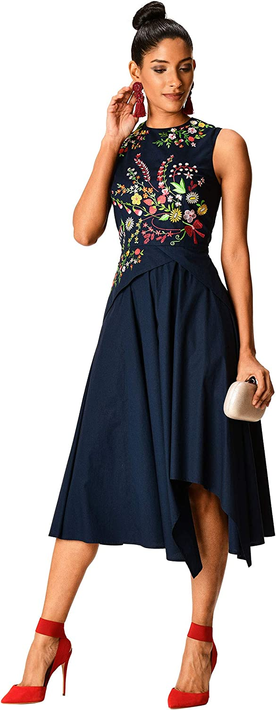 eShakti FX Asymmetric Hem Floral Embellished Stretch poplin Dress - Customizable
