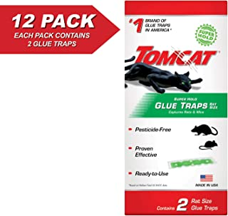 Tomcat Super Hold Glue Traps Rat Size - Also Use for Cockroaches, Scorpions, Spiders, 12 Pack