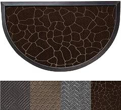 Gorilla Grip Original Durable Rubber Door Mat, Heavy Duty Doormat for Indoor Outdoor, 29x17 Small Half Circle, Waterproof, Easy Clean, Low-Profile Rug Mats for Entry, High Traffic, Dark Brown Pebble