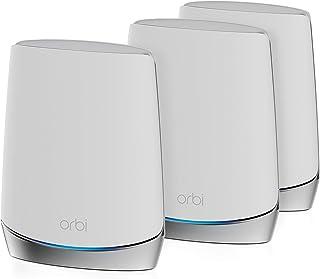 Netgear Orbi RBK753 WiFi 6 Mesh WLAN-systeem (4.200 MBit/s snelheid, tri-band set van 3 met mesh-router + 2 x mesh-repeate...
