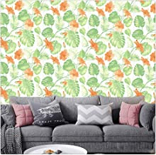 DWIND D1224-2 Peel and Stick Wallpaper Green Flower Contact Paper Self Adhesive For Furniture Kitchen Countertop Table Doo...
