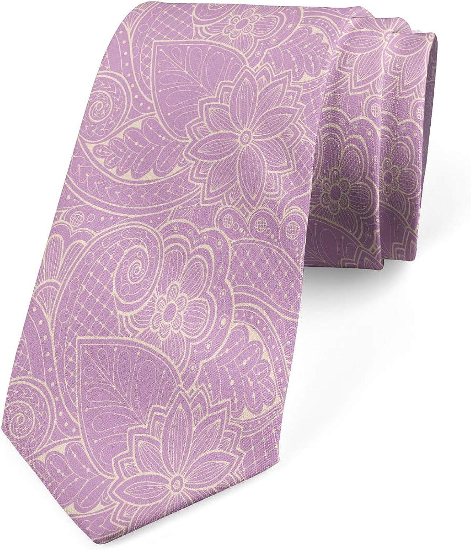 Ambesonne Men's Tie, Monochrome Blooming Flora, Necktie, 3.7