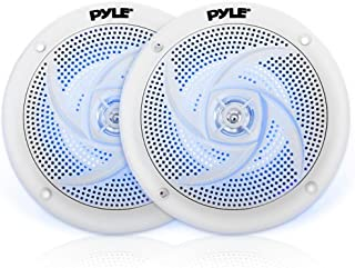 Pyle Marine Speakers - 4 Inch 2 Way Waterproof and Weather Resistant Outdoor Audio Stereo Sound System with LED Lights, 100 Watt Power and Low Profile Slim Style - 1 Pair - PLMRS43WL (White)