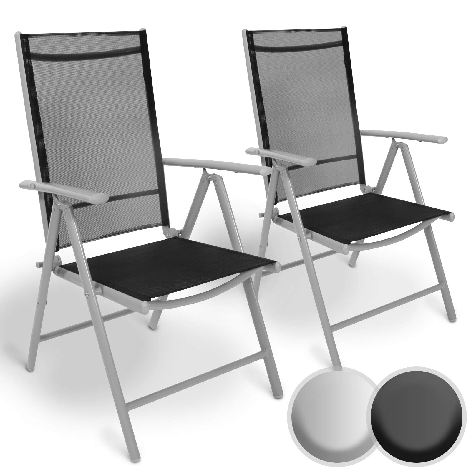 MIADOMODO Aluminium Folding Garden Chairs - with Armrests, High Backrest  Adjustable in 8 Positions, 8x8 Thread - Recliner Chair Outdoor Camping