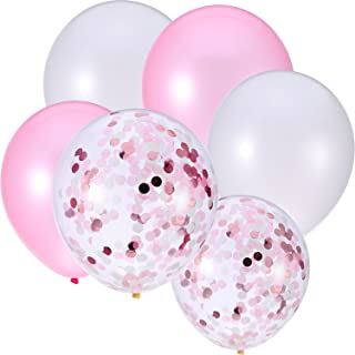 30 Pieces 12 Inches Latex Balloons Confetti Balloons for Wedding Birthday Party Decoration (White and Pink)