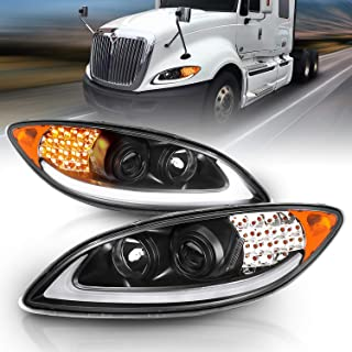 AmeriLite Black LED DRL Glow Bar LED Turn Signal Projector Headlights Pair for 2008-2016 International ProStar Replacement