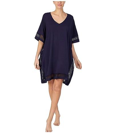Donna Karan Sleepwear Cotton Jersey Short Caftan (Ink) Women