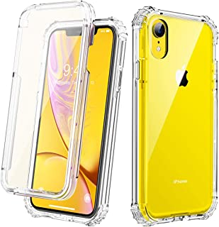 Cozosun Clear Designed for iPhone XR Case, Anti-Scratch Full-Body Heavy Duty Protection with Built-in Screen Protector Rugged Armor Cover Clear Shockproof Case for iPhone XR Case 6.1 Inch 2018