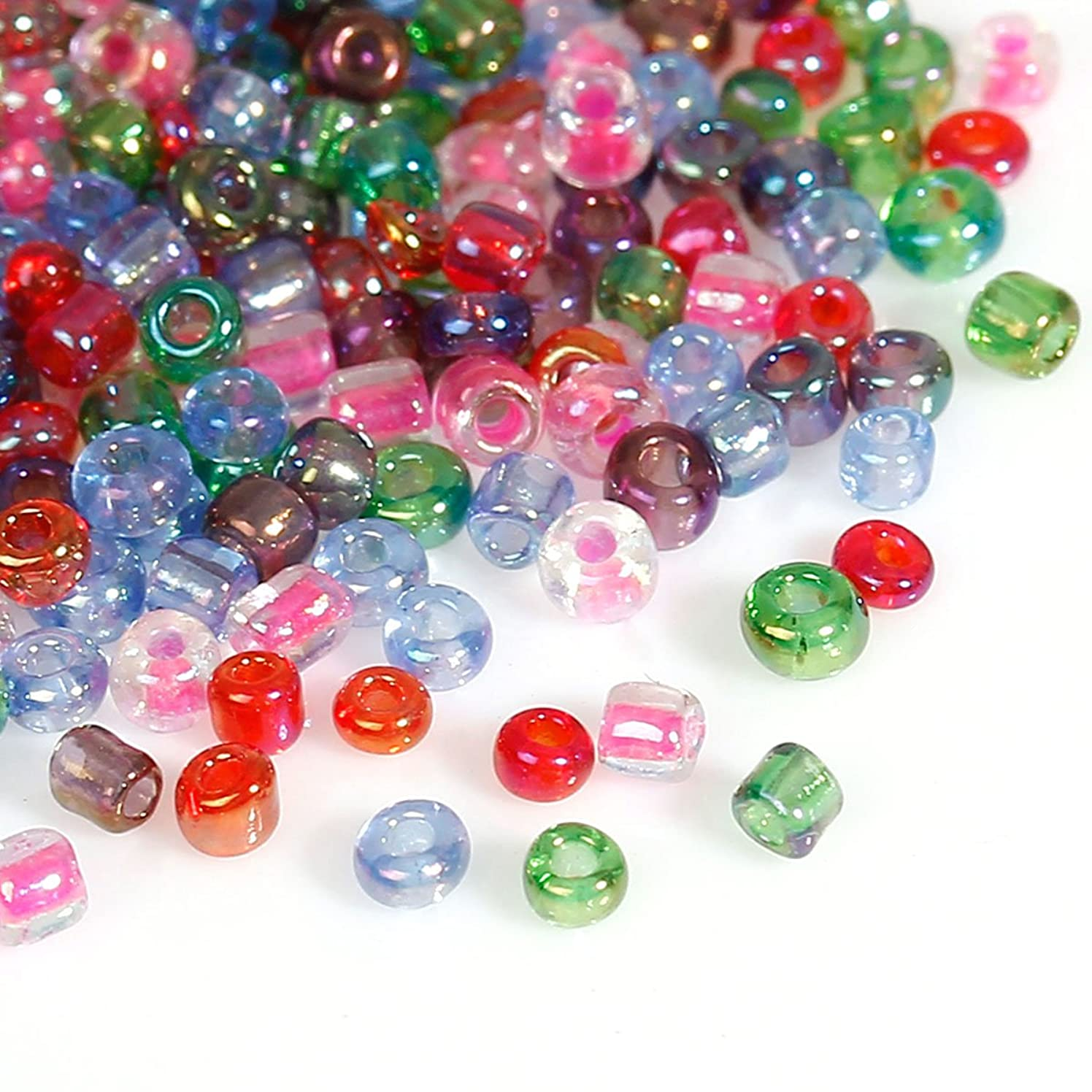 10/0 Glass Seed Beads Round About 2mm(1/8) Dia, Hole: Approx 0.6mm, 100 Grams (Rainbow AB)