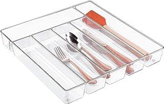 InterDesign Linus Caja para cubiertos cubertero para cajones grande fabricado en plástico con 6 divisiones transparente