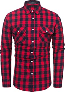TUNEVUSE Mens Flannel Shirts Button Down Plaid Flannel Shirt Long Sleeve Casual Work Shirts