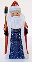 Home of Polish Pottery Christmas Decoration Russian Wooden Hand Carved and Decorated Santa Claus with Stars on The Front & Red Coat