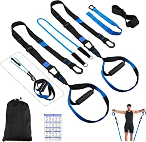 ELEVTAB Bodyweight Resistance Trainer 3.0- Collapsible Resistance Bar with Adjustable Straps+ 4 Levels Resistance Bands+Foot Board+Handles+Ankle Straps+Door Anchor+Workout Guide+Carring Bag