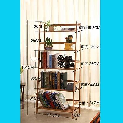 WJXBoos Estantería Escalera de bambú,Aterrizó bookrack de Simple Estudiante Moderno de librería Simple Multi-Capa Rack almacenaje Rack-B 68x34x154cm(27x13x61): Amazon.es: Hogar
