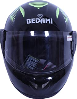 BEDAMI Face Helmet in Matt Finish with Smoke Visor (Matt Green)-ORLOK_PV_1415005N