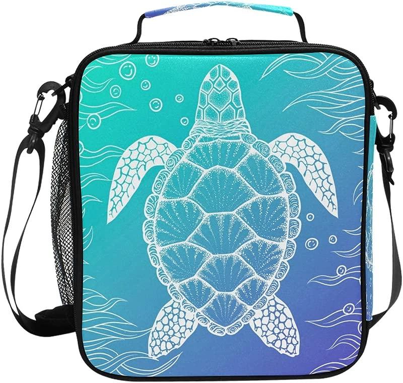U LIFE Ocean Sea Aquatic Turtle Tortoise Lunch Bag Picnic Bag Insulated Cooler Food Tote Bag For Kid Girl Boy Women Men