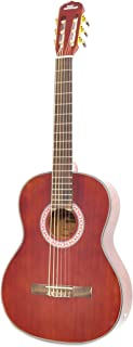 """Cherry Classical Acoustic Electric Guitar - 39.5"""" 6 String Mahogany High-Gloss Polished Guitar with Built-in Preamplifier, Case Bag, 6 Nylon Strings, Tuner, Picks, Great for Beginners - Pyle PGA32RBR"""