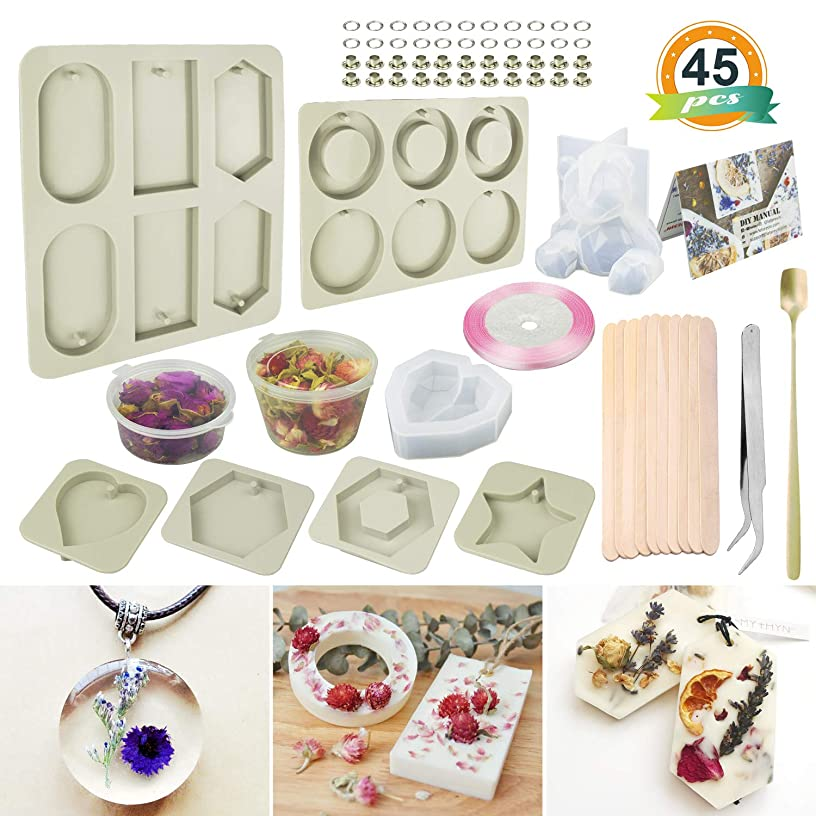 Silicone Wax Molds,6 Type Resin Molds,Creative Plaster Molds,with Petal and Decoration Accessories Great for Resin Pendant Making,Scented Wax Tablet,DIY Aromatherapy Plaster