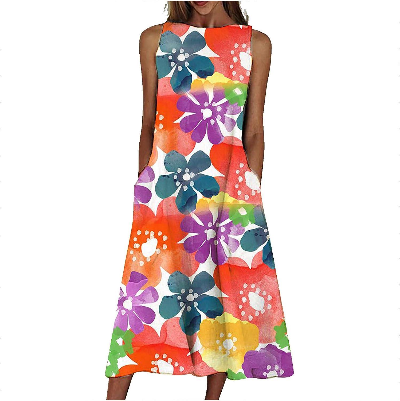ZSNB Women Import Mid-Length Boho Skirts R 5 ☆ very popular Sleeveless Skirt Pocket 2021
