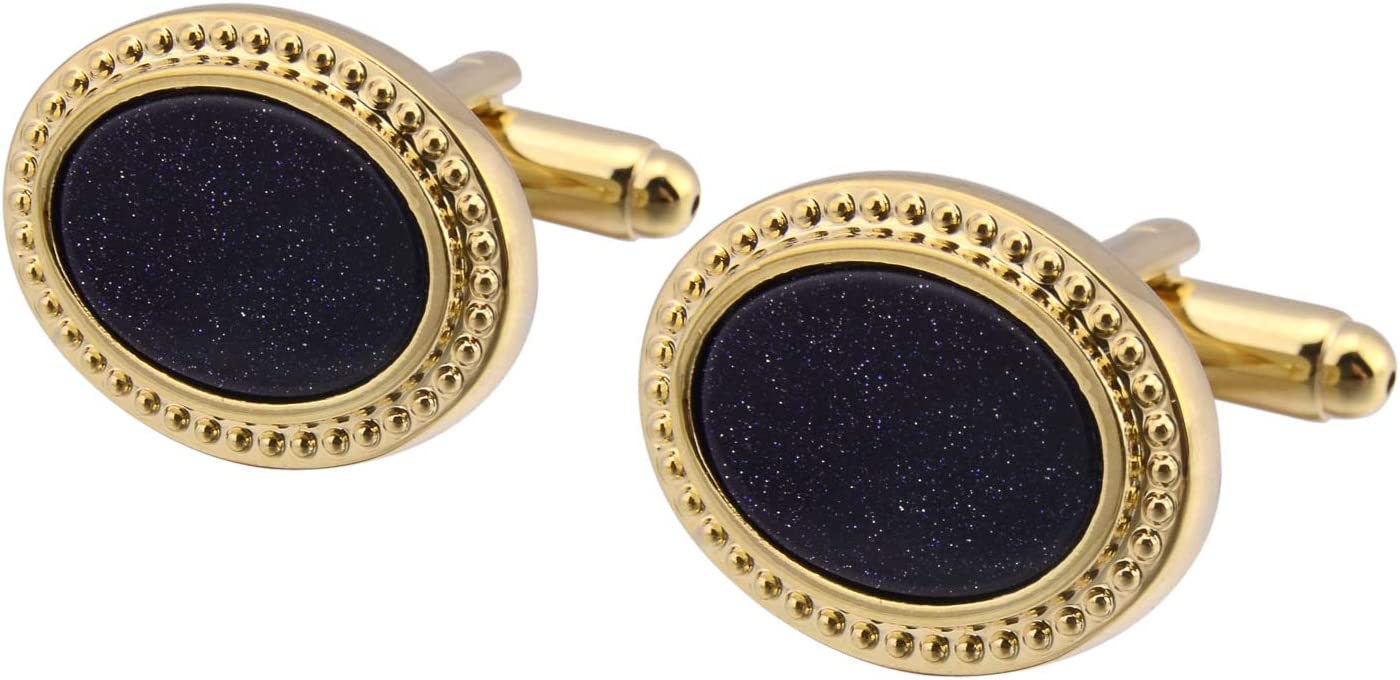 BO LAI DE Men's Cufflinks Vintage Oval Blue Gold Sandstone Cuff Links Shirt Cufflinks Suitable for Wedding Business Luxury Tuxedo Formal Shirts, with Gift Box