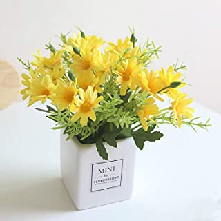 AIFUSI Artificial Flowers, Daisy Flower with Vase Artificial Gerber Daisies Bouquet Fake Plant for Home,Office,Wedding Decoration, Crafts(Yellow-1 Pack)