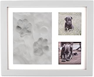 DII Z02160 Keepsake Frame for Dog, Cat or Other Pet Photos and Paw Wall or Desk-Holds Two 3x3 Images & Clay Included for Imprints, White