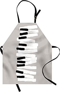 Lunarable Piano Apron, Doodle Style Keyboard Pattern Abstrac