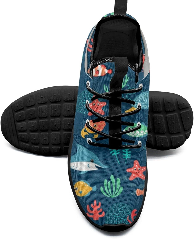 Women's Fashion Lightweight Basketball Sneakers Fish Turtle Jellyfish Crab Stylish Running shoes