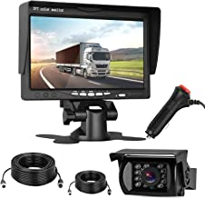 HD 720P Backup Camera and 7'' Monitor Kit High-Speed Observation System for RVs,Trailers,Trucks,Campers,5th Wheels IP69K Waterproof Rear/Front View Super Night Vision