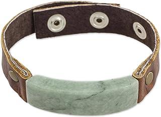 "NOVICA Light Green Jade Pendant Leather Men`s Wristband Bracelet with Brass Snaps, 7"" `Light Green Maya Fortress`"