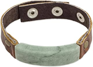 NOVICA Light Green Jade Pendant Leather Men's Wristband Bracelet with Brass Snaps, 7