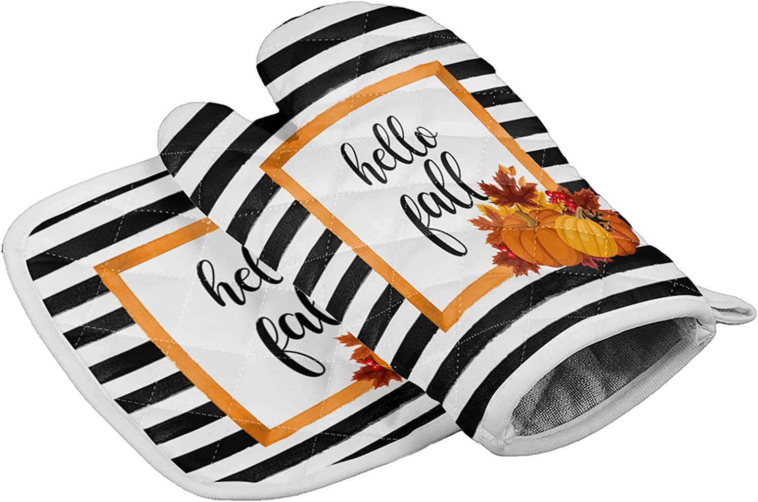 Thanksgiving Set of Oven Mitt and Pot Holder Hello Fall Pumpkin Maple Leaf Kitchen Oven Gloves and Hot Pads Heat Resistance Non-Slip Surface for BBQ Cooking Baking Grilling Black White Stripes