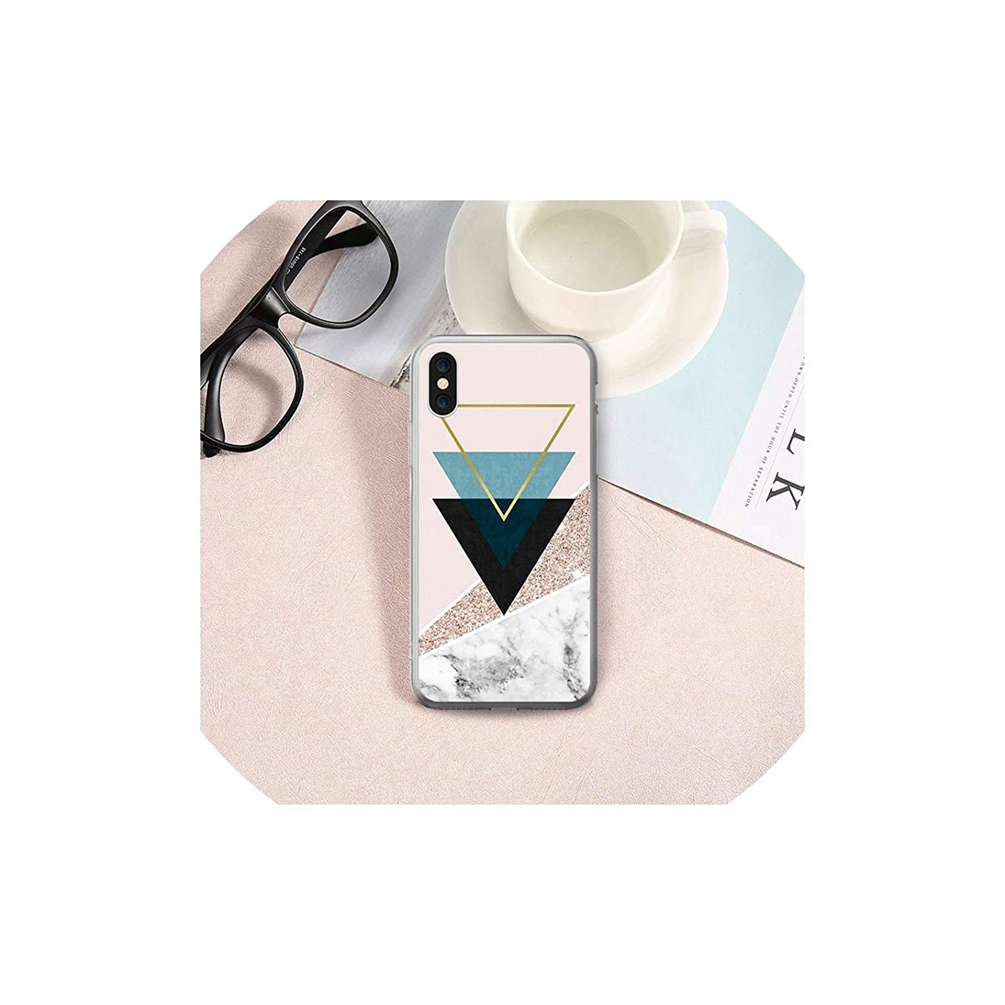 Stylish Geometric Marble Case for iPhone 7 6 6s 5 5s SE Cover Soft Silicone Case for iPhone X 6 S 7 8 Plus XR Coque Bag,5,for iPhone X