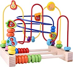 FUN LITTLE TOYS Wooden Toys, Beads Maze Roller Coaster Educational Toys for Toddlers, Baby Around Circle Bead Skill Improv...