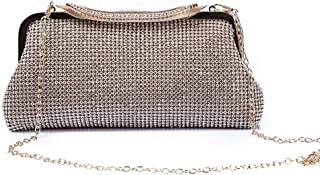 Women's Crystal Rhinestone Banquet Clutch Bag European and American Style Messenger Bag Shoulder Bag Wedding Bag Black/Gold/Silver Size: 25 * 5 * 12cm Fashion (Color : Gold)