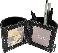 Bellagenda Desk Organizer Picture Frame| Pen Pencil Holder with Photo Frames | Desk Decoration | Multiple Picture Frame | Functional Desk Stationery | Space Saver | PU Leather & Suede (Black)