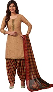 S Salwar Studio Women's Beige & Brown Cotton Printed Readymade Patiyala Suit Set(Beige_Size : L To XXL)