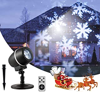 TangkulaChristmasSnowflake LED ProjectorLights, Rotating Snowfall Projection with Remote Control, Outdoor Landscape Decorative Lighting for Christmas, Holiday, Party, Wedding, Garden, Patio