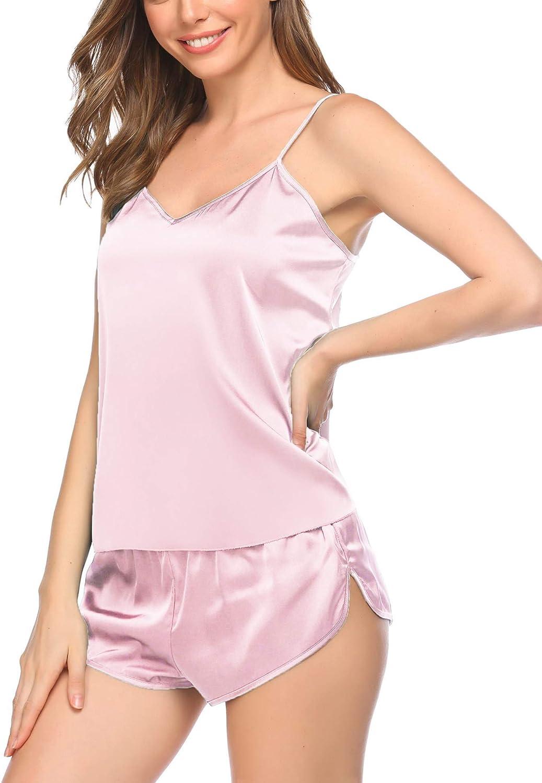 Evanhome Pajamas Womens Sexy Lingerie Satin Sleepwear Cami Shorts Set S-XXL