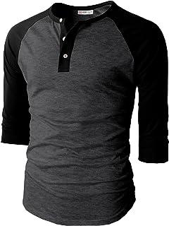 【H2H】ベーシック メンズ カジュアル ファッション オシャレ カラー ヘンリーネック 七分袖 ティーシャツ CMTTS0174 [並行輸入品]