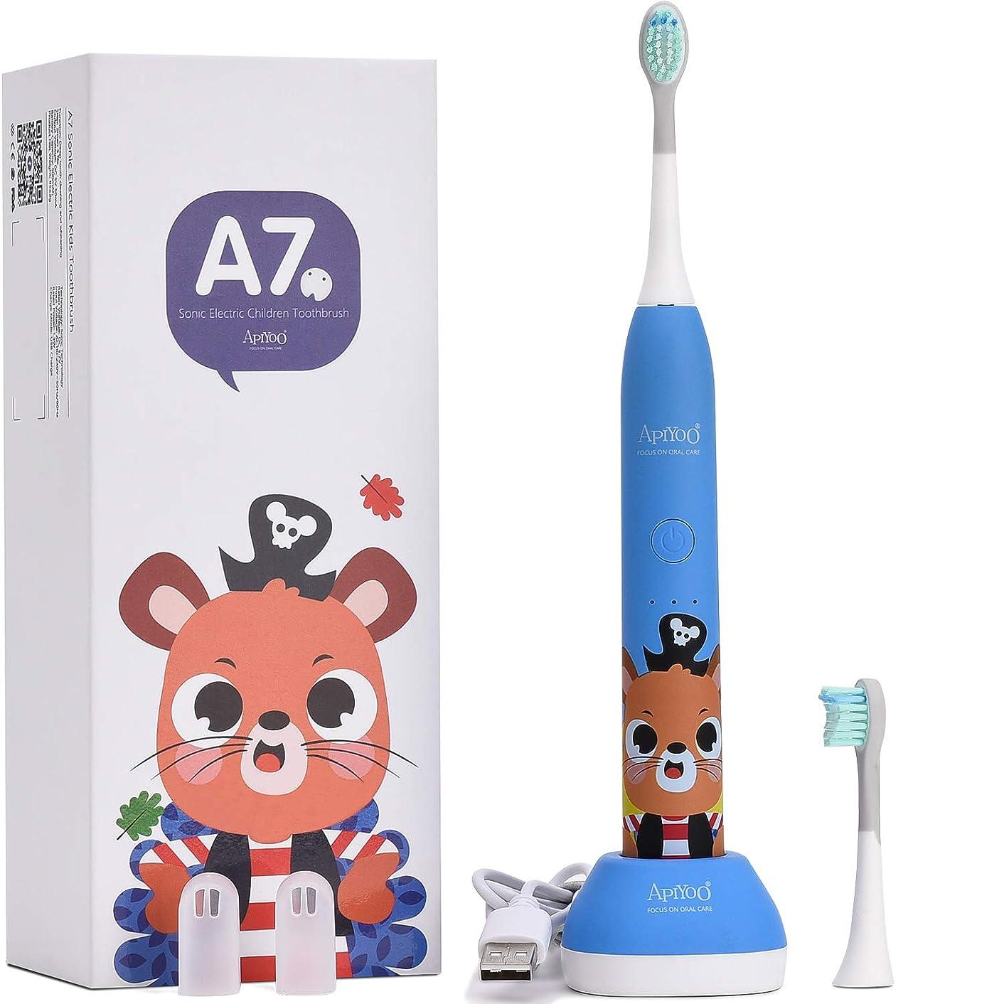 拘束クリーナーノーブル子供用歯ブラシ、APIYOO A7ワイヤレス充電式電動歯ブラシ、IPX7防水、三種類ブラッシングモード、子供に対応の2分間スマートタイマー機能付き(ブルー)
