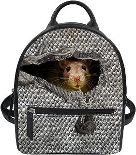 Small Leather Backpack Purses and Handbags Teens Girls Animal Rat Print