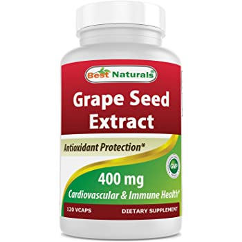 Best Naturals Grape Seed Extract 400 mg Veggie Capsule, 120 Count